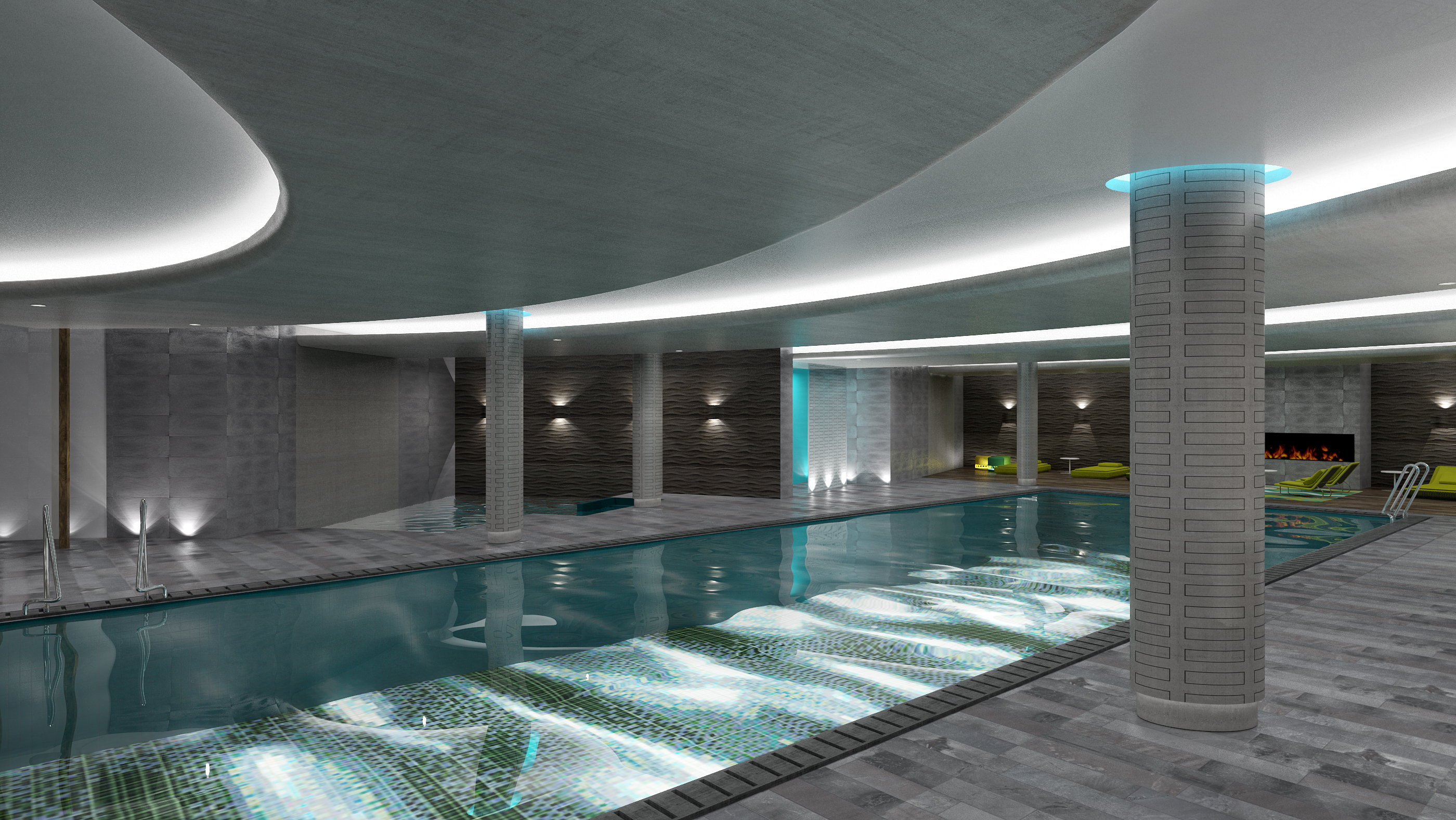 corporate wellness swimming pool with ceiling lights and pillars